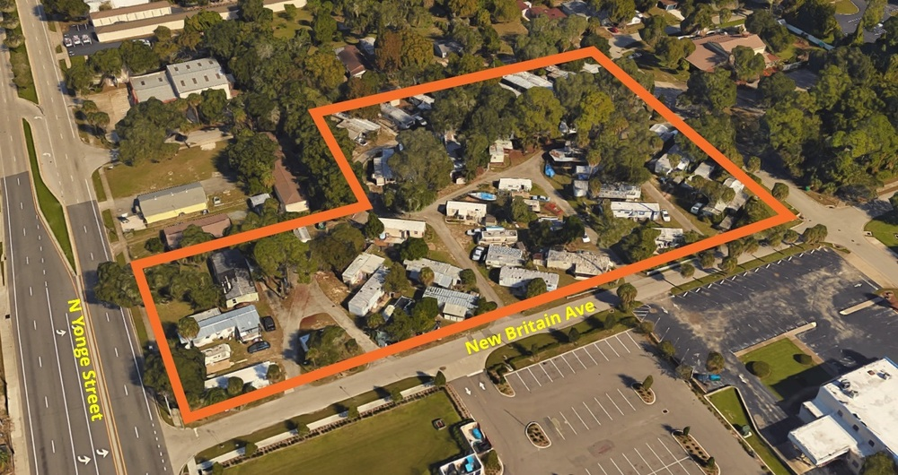 19 N. Yonge Street in Ormond Beach is a 44 pad mobile home and RV park currently but has prime redevelopment potential.